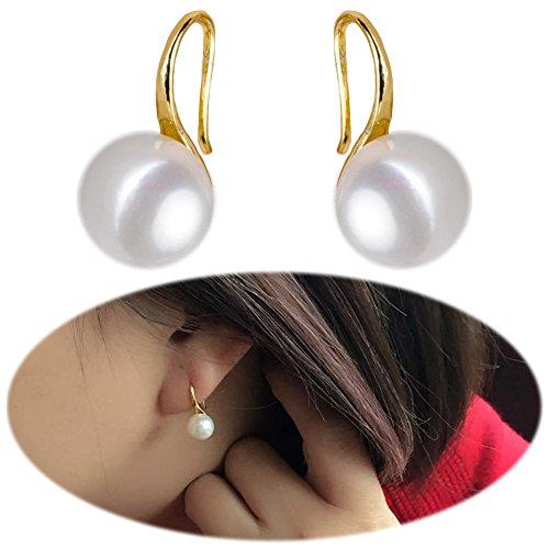 Faux Pearl Dangle Drop Earrings White Freshwater Pearl Studs Ear Crawler Earrings Climber Pierced Jewelry Golden Plated Faux Pearl Dangle Pierced Earrings