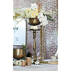 "25"" Gold Metal Pedestal Table - Excellent Home Decor - Indoor & Outdoor 86"