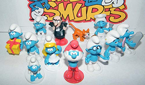 Deluxe Mini Figure Set Toy Playset of 12 with Baby Smurf, Brainy Smurf, Smurfette, Gargamel, Azrael and More!
