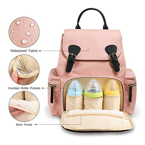 51j9ggb%2BlKL - Vogshow Waterproof Diaper Bag, Multifunction Stylish Travel Backpack Maternity Nappy Bag For Baby Care, Large Capacity And Durable (Pink)