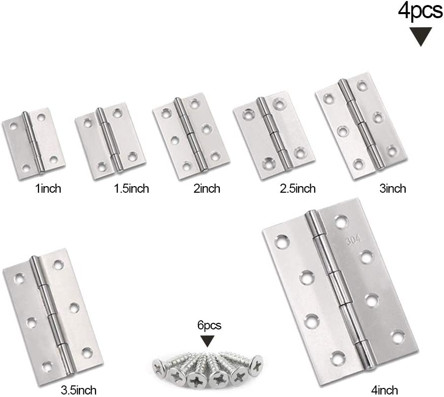 Home Furniture Door Hinges Cabinet Drawer Hinges Small Hinges with Matching Fixing Screws - 4pcs Silver 1 Inch YOFASEN Stainless Steel Bearing Hinges 25 * 24 * 08mm