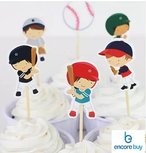 Baseball Sports Cake Cupcake Toppers Picks for Birthday Baby Shower Decoration 24 PCS ()