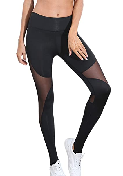 1aee47c4d4912 popiv Women's Stretchy Skinny Sheer Mesh Insert Workout Leggings Yoga Tights  High Waist Leggings at Amazon Women's Clothing store: