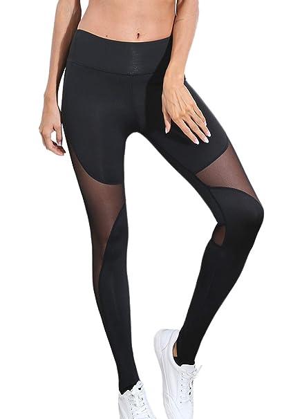 2aa5e70fda9020 popiv Women's Stretchy Skinny Sheer Mesh Insert Workout Leggings Yoga Tights  High Waist Leggings at Amazon Women's Clothing store: