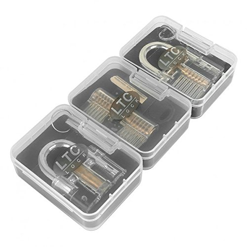 LeaningTech Lock Padlocks Training Set Locksmith with Crystal Cutaway of 3 Most Common Locks
