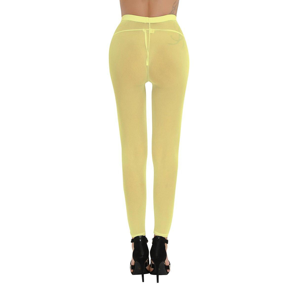 YiZYiF Women's Semi Opaque Sheer Leggings Footless Pantyhose Tights Yellow
