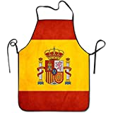 Aprons Spain Flag Art Cooking Apron Kitchen Apron, Lock Edge Waterproof Durable String Adjustable Easy Care For Women Men Chef
