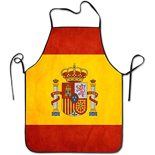 Aprons Spain Flag Art Cooking Apron Kitchen Apron, Lock Edge Waterproof Durable String Adjustable Easy Care For Women Men Chef by Starobos