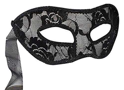 Wholesale Masquerade Masks On A Stick (Maze Women's Red Black Or White Meshy Rose Lace Simple Venetian Eye Mask, 1- One Size)
