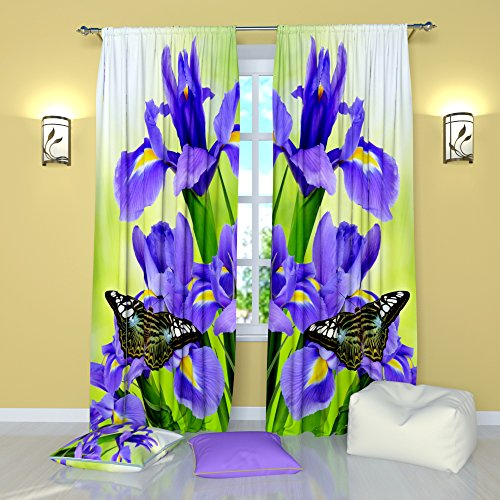 Floral Curtains by Factory4me Iris. Window Treatment Curtain Panel (Set of 2) Bedroom, Living, Kids Room W104