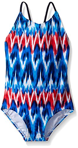 Kanu Surf Big Girls' Daisy Beach Sport 1-Piece Swimsuit, Kelly Red/White/Blue, 8