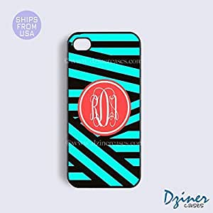 LJF phone case Personalized Your Initials iphone 6 plus 5.5 inch Case - Zebra Green Stripes iPhone Cover