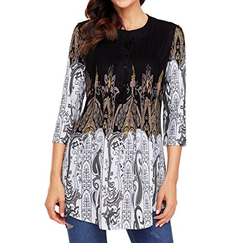 (vermers Clearance Sale Women T-Shirt - Fashion Printed 3/4 Sleeve Circular Neck Tops Loose Shirt Blouse(S, Black))