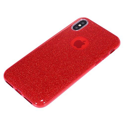 Carcasa iPhone X, Apple iPhone X Funda Silicona, EUWLY Alta Calidad Estilo de Moda de Lujo Bling Brillante Glitter Silicona Funda para iPhone X Trasero Cubierta Ultra Delgado Flexible Goma Suave Silic Glitter Rojo