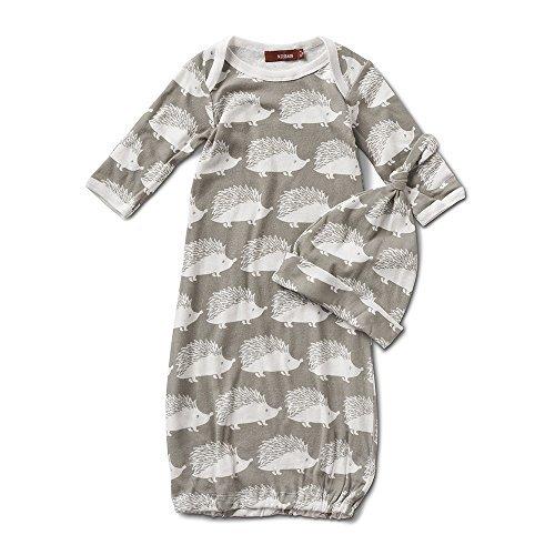 Milkbarn Newborn Gown and Hat Set (Gray Hedgehog)