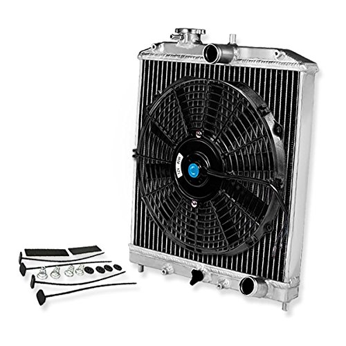 (For Civic/Del Sol/Integra (Manual Transmission) 2-Row Dual Core 42mm Racing Radiator+12 inches Black Fan)
