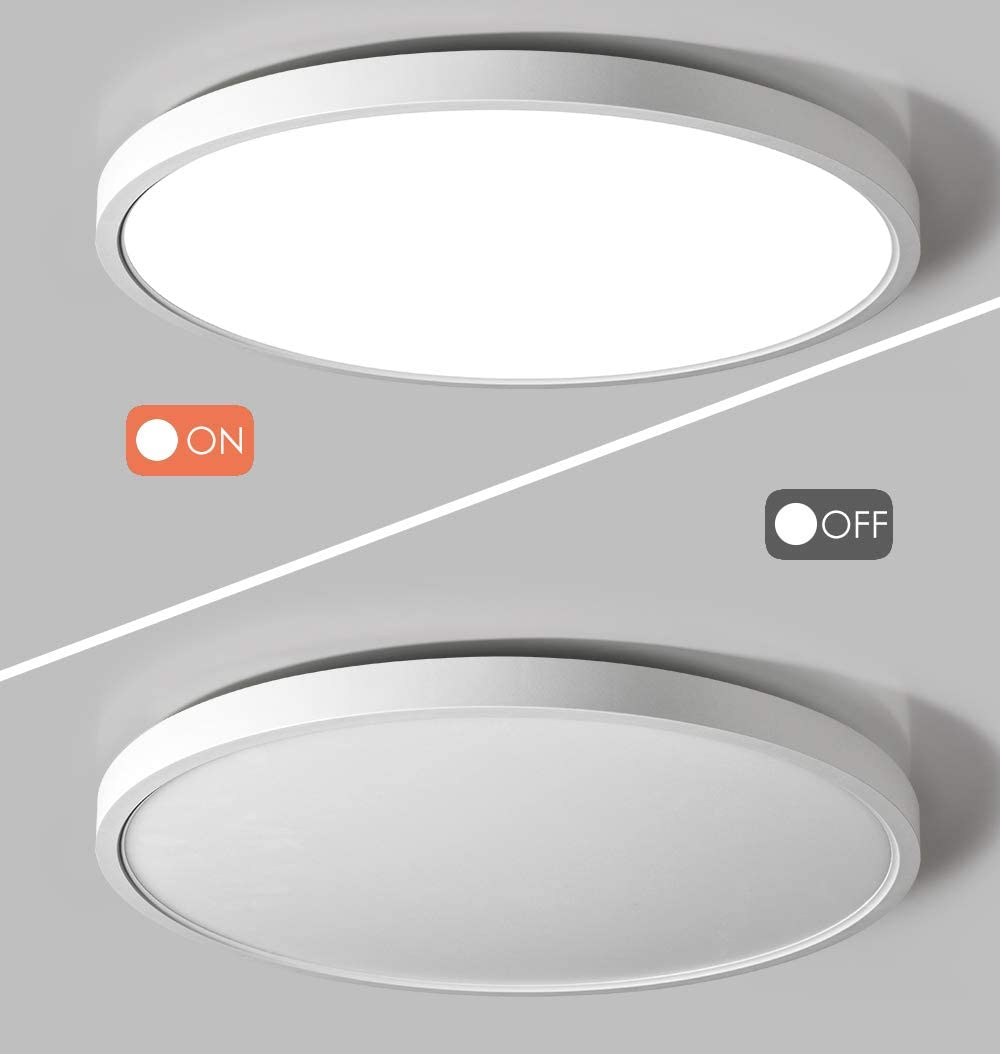 TALOYA Flush Mount 12 Inch Ceiling Light (Milk White Shell), 20W Surface Mount LED Light Fixture for Bedroom Kitchen, 3 Color Temperatures in One(3000k/4000k/6500k), 0.94 Inch Thickness Round - -