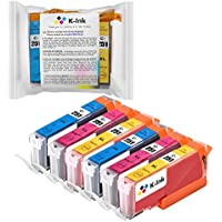 K-Ink Compatible Replacement Color Ink Cartridges for CLI-251 CLI 251 XL (6 Pack - 2 Cyan, 2 Yellow, 2 Magenta)