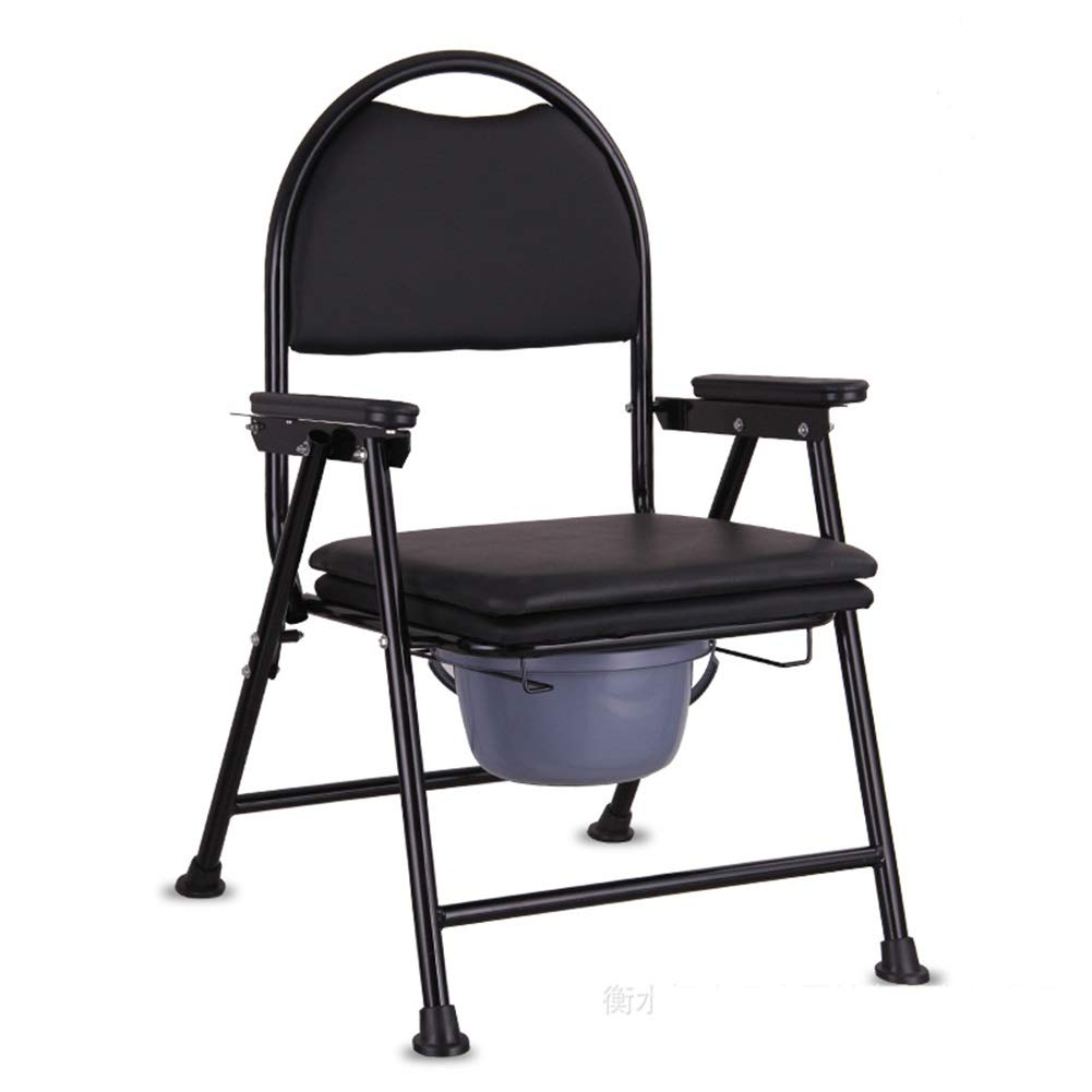 EGCLJ Portable Elderly Toilet Potty Chair - Folding Movable Commode Chair - Bath Chair Stool for Pregnant Women Old Man and Disabled People