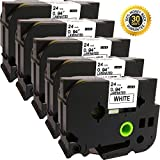 NEOUZA 5PK Compatible For Brother P-Touch Laminated Tze TZ Label Tape Cartridge 24mm x 8m (TZe-251 Black on White )