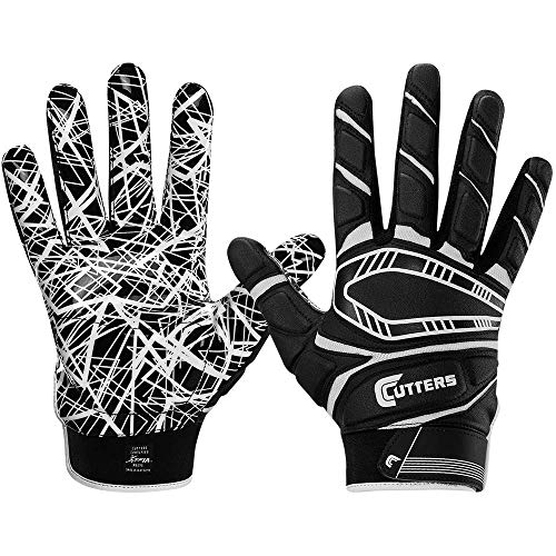 Cutters Game Day Padded Football Glove for Lineman and All- Purpose Player. Grip Football Glove, Youth & Adult Sizes, 1 Pair, BLACK, YOUTH: Large