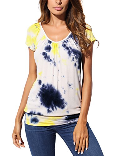 Short Sleeves Tunic Top For Women, V Neck Tunic Tops For Leggings Short Sleeve Elastic Hemline Knit Tunic Regular and Plus Size Soft Comfortable Casual Daily Night Out T Shirt X-Large Tie Dye-Yellow (Banded Bottom Tunic)