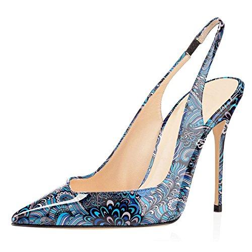 Fiore Sandali Scarpe Cinturino Con Fibbiaco Heels Donna Blu Tacco Gattino Caviglia 10CM ELASHE da Slingback OaxXB