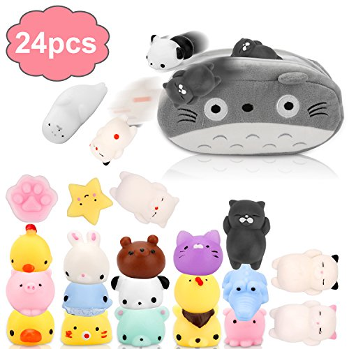 Gooidea Mochi Squishy Toys 丨 24pcs Mini Squishies Stress Relief Fidget Toys and Fun Gift Idea for Kids Party Favors丨 Kawaii Squishies Cat Panda Animals Squeeze Toys Set with Cartoon Bag