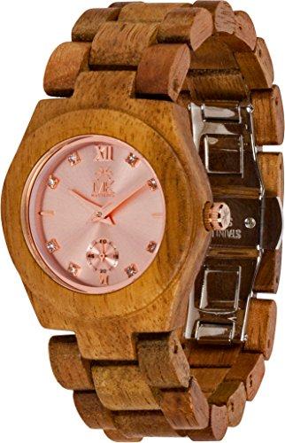 Maui Kool Wooden Watch Hana Collection For Women Analog Wood Watch Bamboo Gift Box (B2 - Koa Rose Gold)
