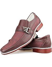 Sapato Social Masculino Vinho Dupla Textura Fivela Bico Fino Resistente