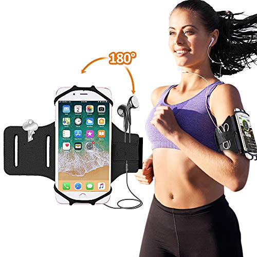 BOVON Running Armband, Sports Phone Armband for Screen 4''-6'' iPhone X/8 Plus/ 8/7 / 6/6s+, Galaxy S9/ S9 Plus/S8/S7 180° Rotatable Workout Armband with Key Holder for Hiking Biking Jogging