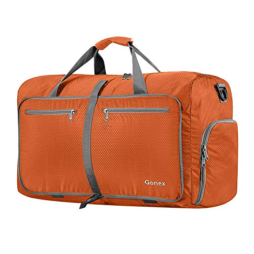 Gonex 60L Foldable Travel Duffle Bag for Luggage, Gym, Sport, Camping, Storage, Shopping Water & Tear Resistant - Orange Airplanes