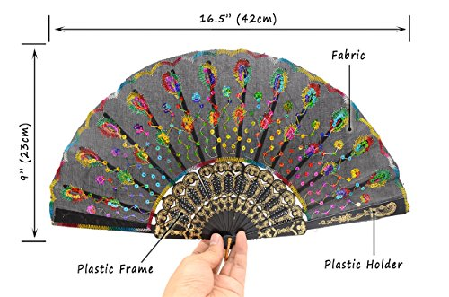 OMyTea Black Peacock Folding Hand Held Fans Bulk Pack Set for Women - Spanish/Chinese/Japanese Vintage Retro Fabric Fans for Wedding, Church, Party, Gifts (Mixed Colors, 10pcs) by OMyTea (Image #2)