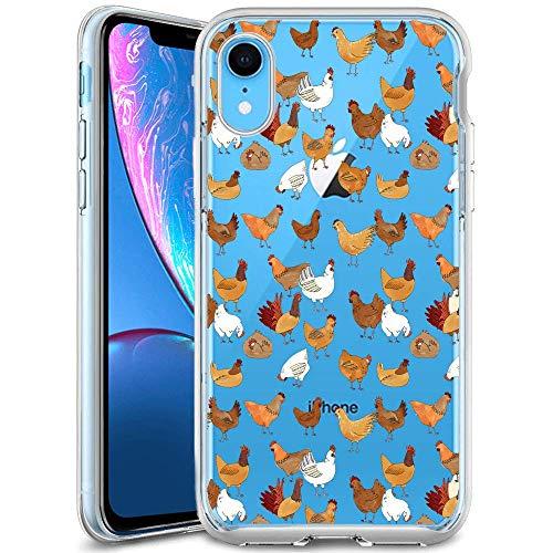 iPhone Xr Case Chicken Pattern Crystal Print Soft Super Silm Clear Case iPhone Xr Scratch-Proof Protective Cover (Chicken Scratch Patterns)