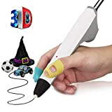 3D Pen,THZY 3D Printing Pen 3D Doodler Drawing Pen with 2 Free 1.75mm PCL Filament,Christmas Gifts and Toys for Kids and Adults (White)