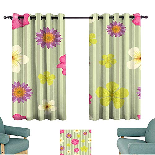 Warm Family Fashion Curtain Seamless Cute Flower Vector Pattern Wallpaper on a Brown Green Striped Background Noise Reducing