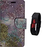 BKDT Marketing Premium Leather Touch Feel Flip Cover for Samsung Galaxy E7 - Printed Leather withFree Digital Watch