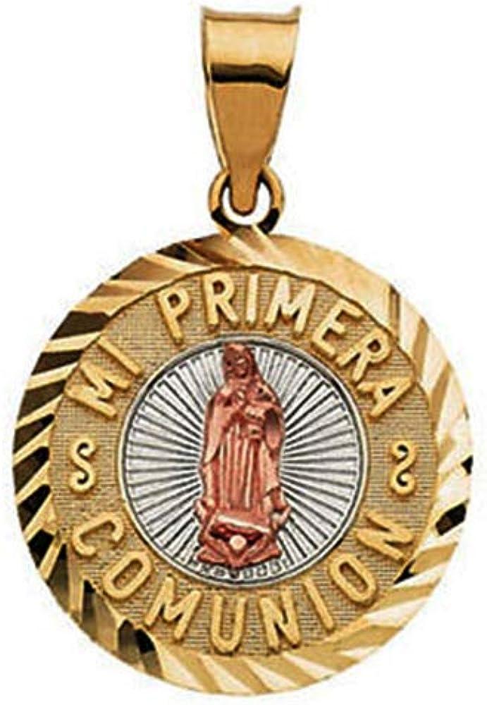 Eliana and Eli 14K Yellow /& Rose 23x15mm Mi Primera Communion 1st Holy Communion Medal