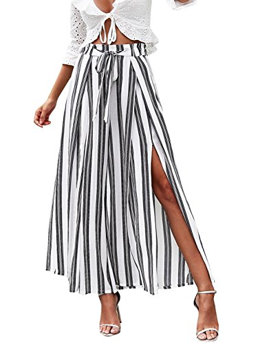 Simplee Women's Elegant Striped Split High Waisted Belted Flowy Wide Leg Pants, White Stripe, 1/9, Large
