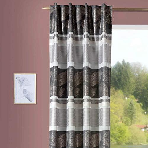 Bella vita, tenda con passanti, tessuto jacquard Ginkgo e strisce orizzontali, grigio, bianco, beige, 140 x 245 cm