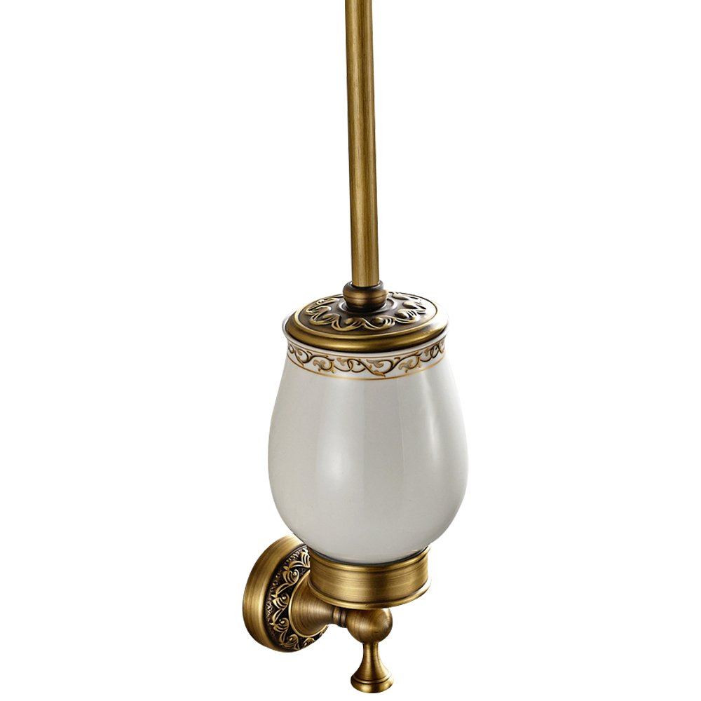 Leyden TM Antique Brushed Brass Carved Wall Mounted Toilet Brush Holder Bathroom Hardware Leyden Fashion Home
