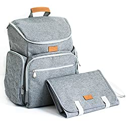 Diaper Backpack Baby Bag for Mom or Dad, Girl or Boy, with Changing Pad, Insulated Pockets for Bottle Storage, Stroller Straps, Baby Shower Gift Idea by Baby Republic (Gray)