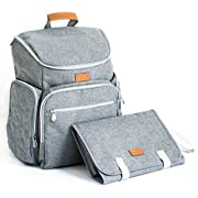 Baby Diaper Backpack Bag with Portable Changing Pad Clutch, Durable Baby Organizer with Insulated Pockets & Stroller Straps for Moms and Dads by Baby Republic (Gray)
