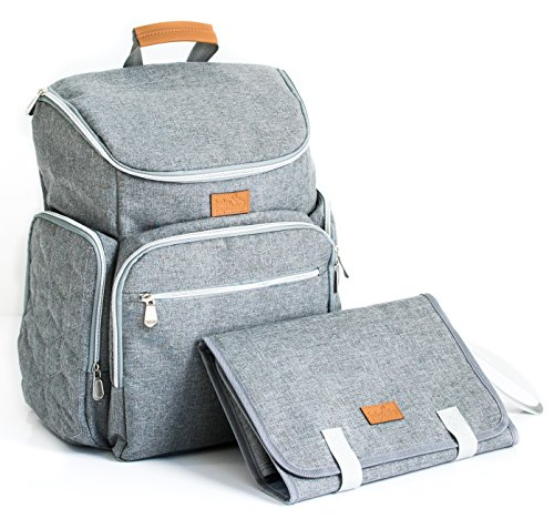 Diaper Bag Baby Backpack with Portable Changing Pad Clutch, Durable Baby Organizer with Insulated Pockets & Stroller Straps for Moms and Dads, Perfect Baby Shower Gift (Gray)