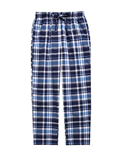 TINFL Boys Plaid Check Soft 100% Cotton Lounge Pants BLP-SB010-Blue-S (Blue Plaid Pants)