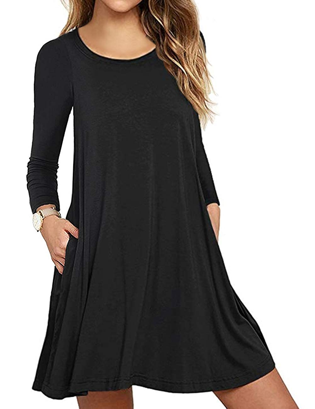 b29b501749c Top4  Sanifer Women s Casual Long Sleeve T Shirt Dress with Pockets Plus  Size Swing Tunic Dress