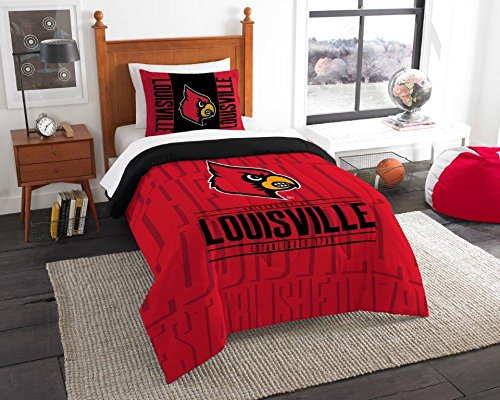 - Louisville Cardinals - 2 Piece TWIN Size Printed Comforter Set - Entire Set Includes: 1 Twin Comforter (64