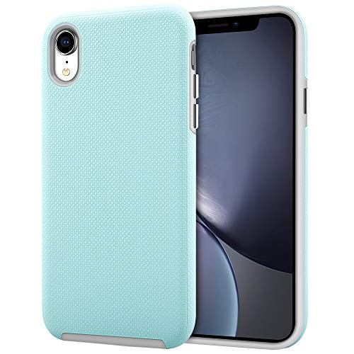 iPhone XR Case, Anuck 2 in 1 Hybrid Shockproof iPhone XR Slim Protective Case for Girls Dual Layer Soft Rubber Bumper Hard PC Shell Cover with Chromed Silver Buttons for Apple iPhone XR 6.1