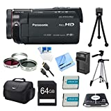 Panasonic HC-X920K 3MOS Ultrafine Wi-Fi HD Camcorder 64GB Bundle - Includes Camcorder, 64GB Card, Bag, Filter Kit, 2 Batteries, Card Reader, Battery Charger, mini-HDMI to HDMI A/V Cable, Mini Tripod, Full Tripod, Screen Protectors, and Micro Fiber Cloth