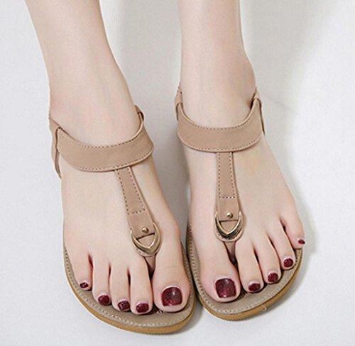 Amcool Damen Sandalen Zehentrenner Sommer indoor & outdoor Lässige Flache Schuhe Rosa
